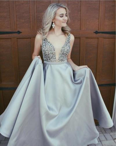 Stunning Ivory A-Line V-Neck Satin Backless Sleeveless Evening Prom Dress with Beaded