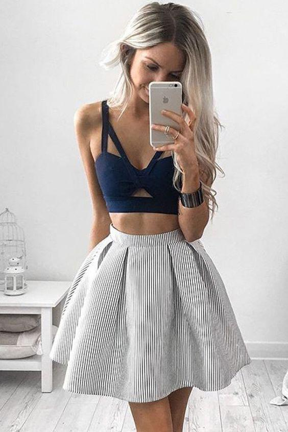 Two Piece V Neck Above Knee Sleeveless Blue Homecoming Dresses Short Prom Dress