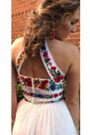 Two Pieces Embroidery Prom Dresses Unique Halter Open Back Formal Dress with Tulle