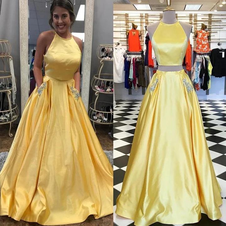 Two Pieces Halter Open Back Yellow Prom Dresses Beads Evening Dresses with Pockets
