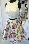 Two Pieces Ivory Beads Floral Print Lace Appliques Homecoming Dresses Cocktail Dress