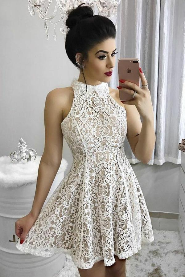 Unique A Line Ivory Halter Lace Above Knee Homecoming Dresses Short Prom Dresses