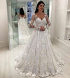 Unique Appliques V-Neck A-Line Long Sleeves Wedding Dress V Back Bridal Dresses