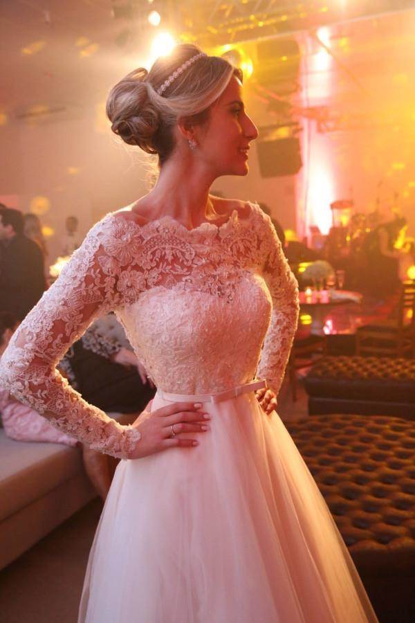 Unique Bateau Lace and Tulle Wedding Dresses Long Sleeves Bridal Dresses