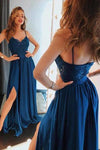 Unique Blue Spaghetti Straps Lace Prom Dresses Satin Sweetheart Side Slit Party Dress