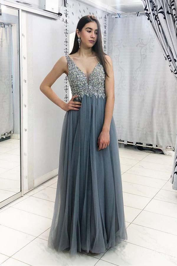 Unique Grey Beads Long Prom Dresses V Neck Tulle Cheap Evening Dresses