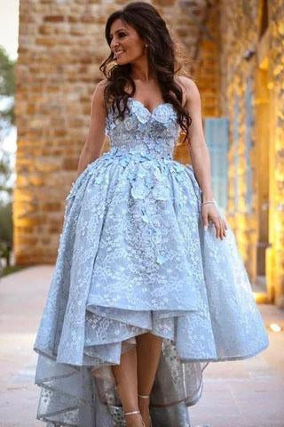 Unique Lace Sweetheart High Low Ball Gown Prom Dresses For Teens Graduation Dresses