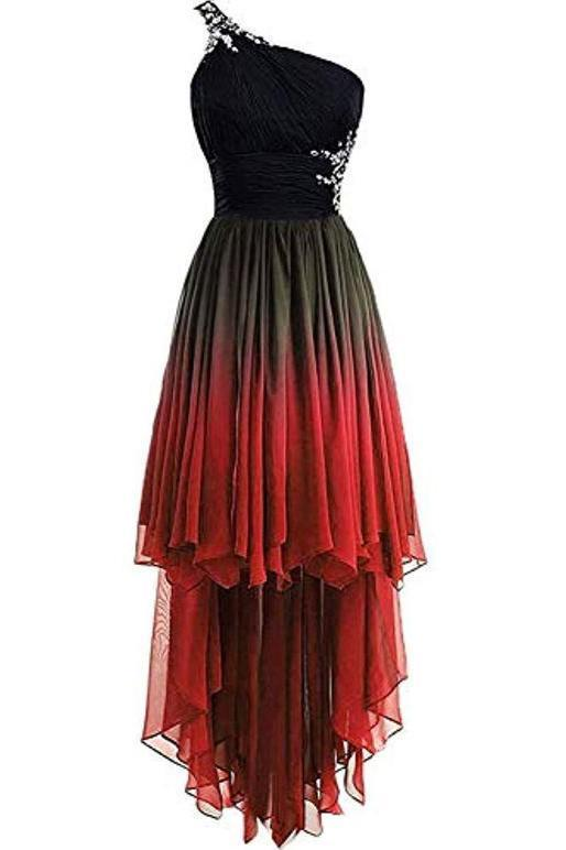 Unique One Shoulder Ombre Black and Red High Low Homecoming Dresses with Beads