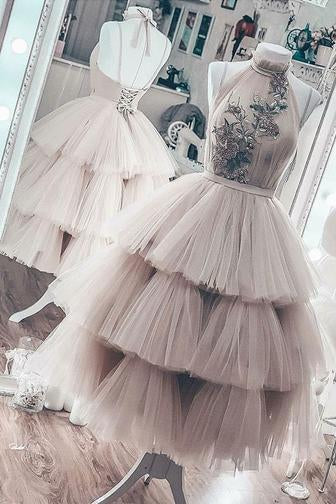 Unique Short Layered Tulle High Neck Backless Short Prom Dress Homecoming Dresses