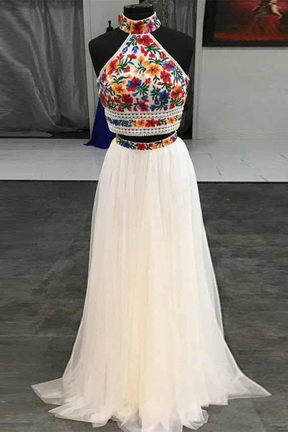 Unique Two Pieces Embroidery High Neck Open Back Tulle Prom Dresses Evening Dresses