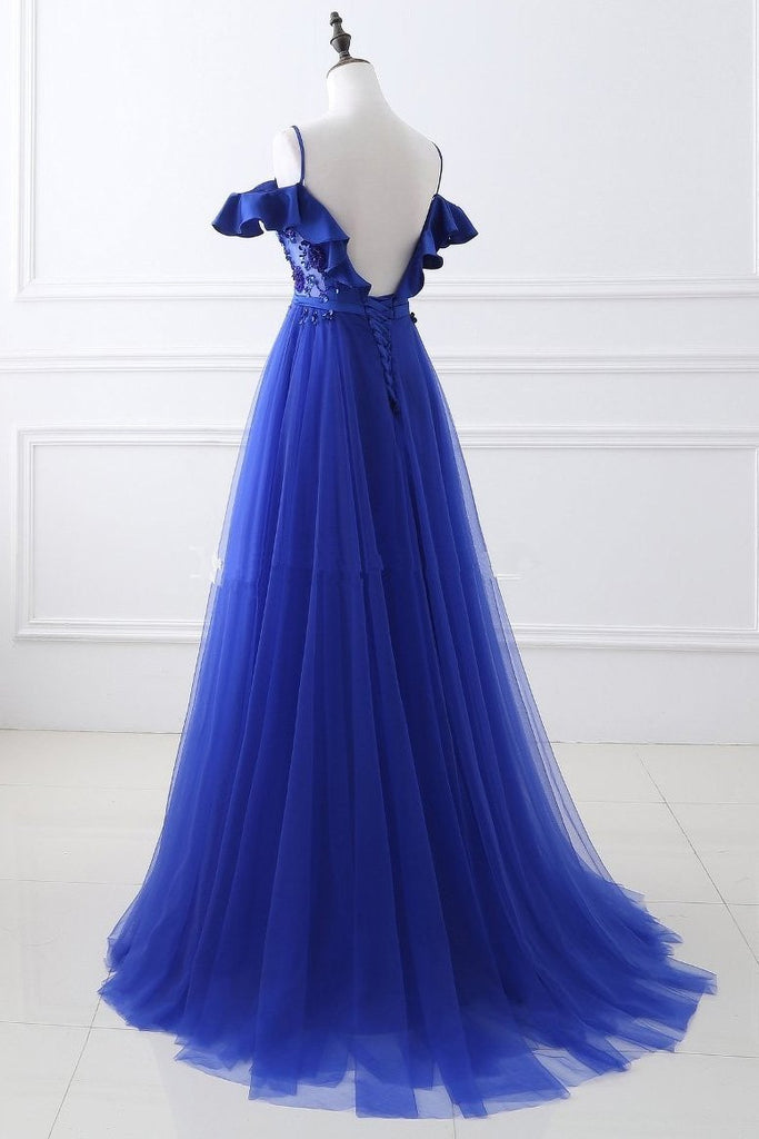Unique Royal Blue Spaghetti Straps Off the Shoulder Ruffle Appliques Beaded Prom Dresses