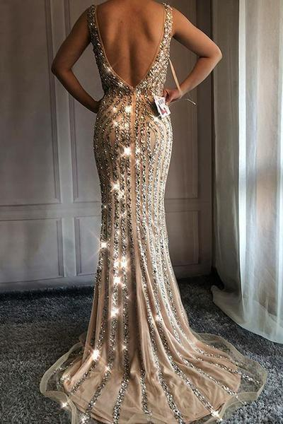 V Neck Long Mermaid Rhinestone Beaded Luxury Prom Dresses Backless Party Dresses