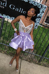 V Neck Purple Strapless Homecoming Dresses Satin Sequins Above Knee Short Prom Dress
