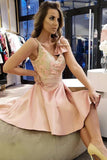 Vintage Pink Spaghetti Straps Satin V Neck Short Homecoming Dresses with Lace