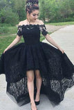 Vintage A-Line Off the Shoulder Black Lace High Low Short Sleeve Prom Homecoming Dresses
