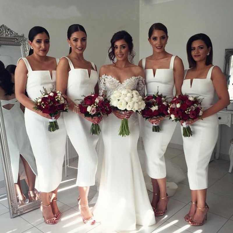 White Straps Mermaid Satin Prom Dresses V Neck Backless Bridesmaid Dresses