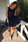 Popular Round Neck Sequins Dark Blue Short Prom Dresses Homecoming Dresses