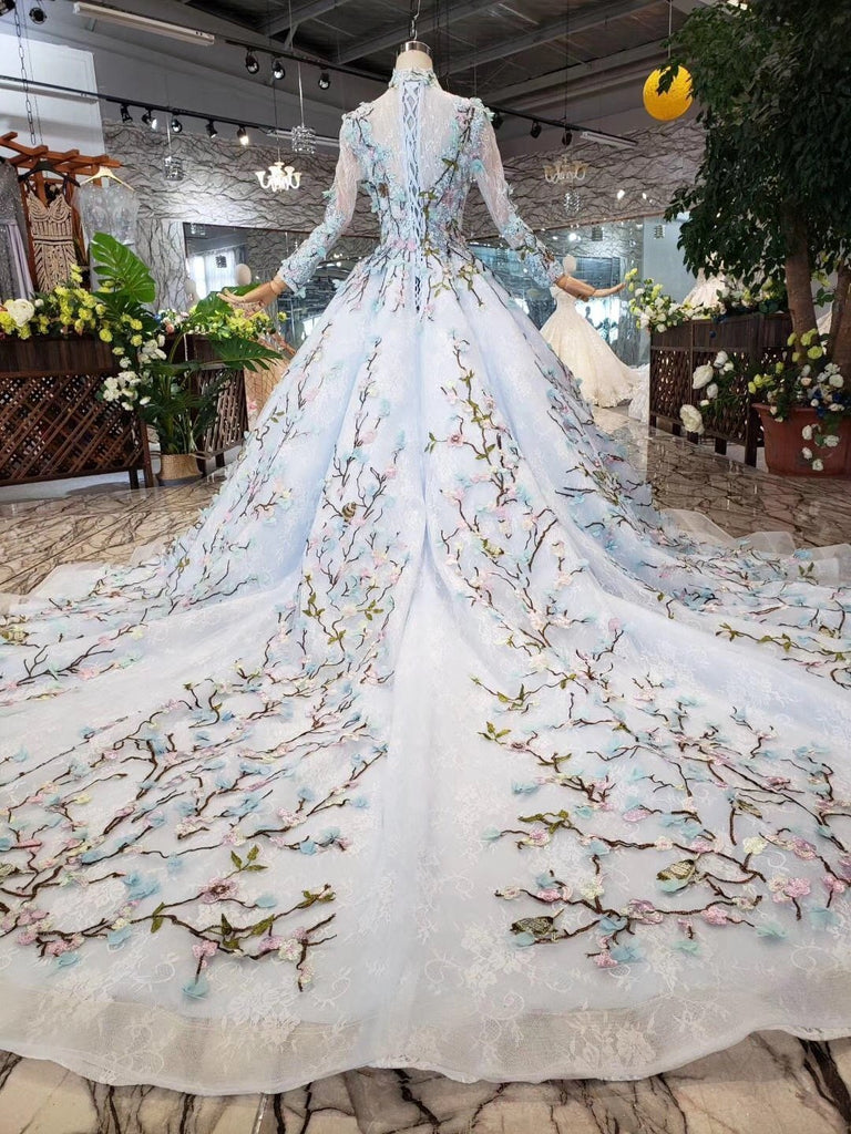 Stunning Light Blue Long Sleeve Wedding Dresses High Neck Quinceanera Dresses
