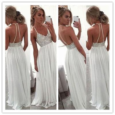 White Chiffon Sequin Long Prom Dress For Teens Backless Long Prom Dresses Wedding Dress