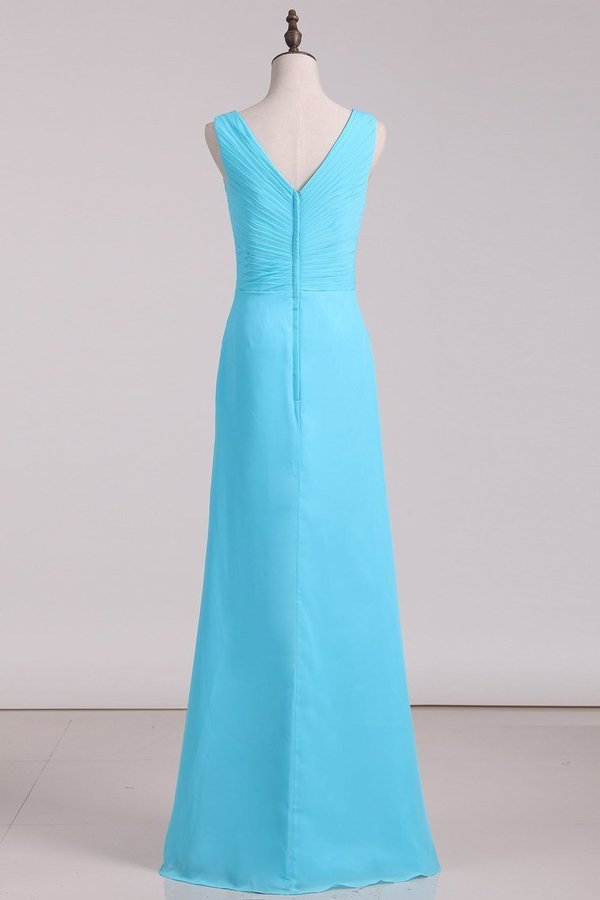 Bridesmaid Dresses V Neck Ruffled Bodice Chiffon Floor Length With PPHG76ZQ