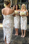 Unique Mermaid Off the Shoulder Ivory Lace Sweetheart Bridesmaid Dresses with Slit STI15540