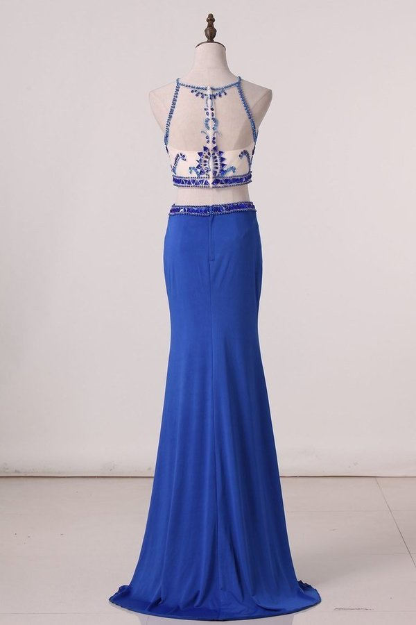 Spaghetti Straps Two-Piece Spandex Prom Dresses With Beads P7TXQETT