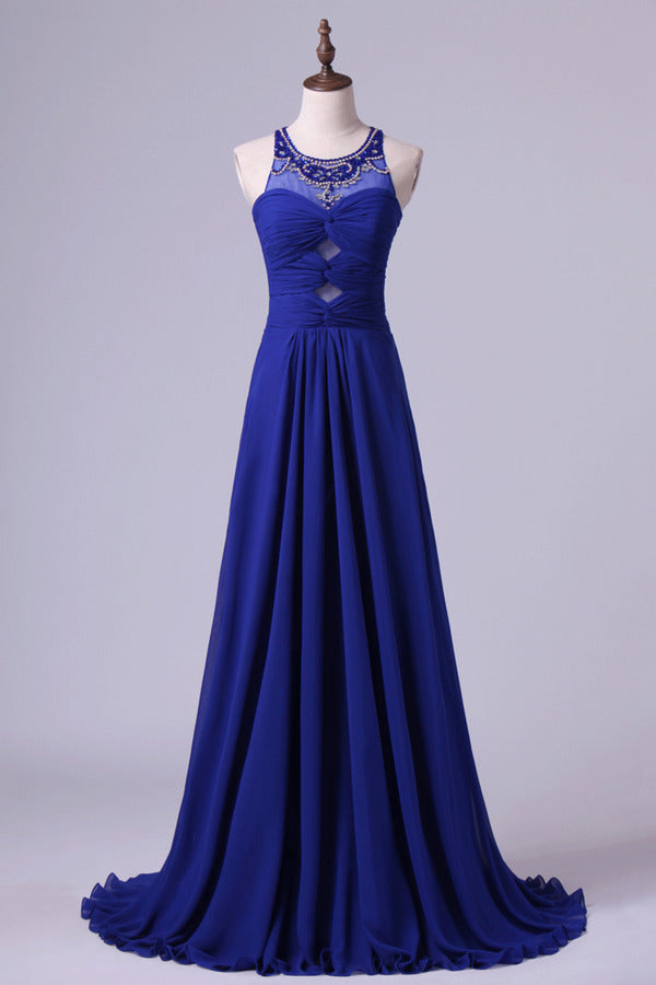 Unique Dark Royal Blue Prom Dress Scoop A Line Chiffon PXEJF5JZ