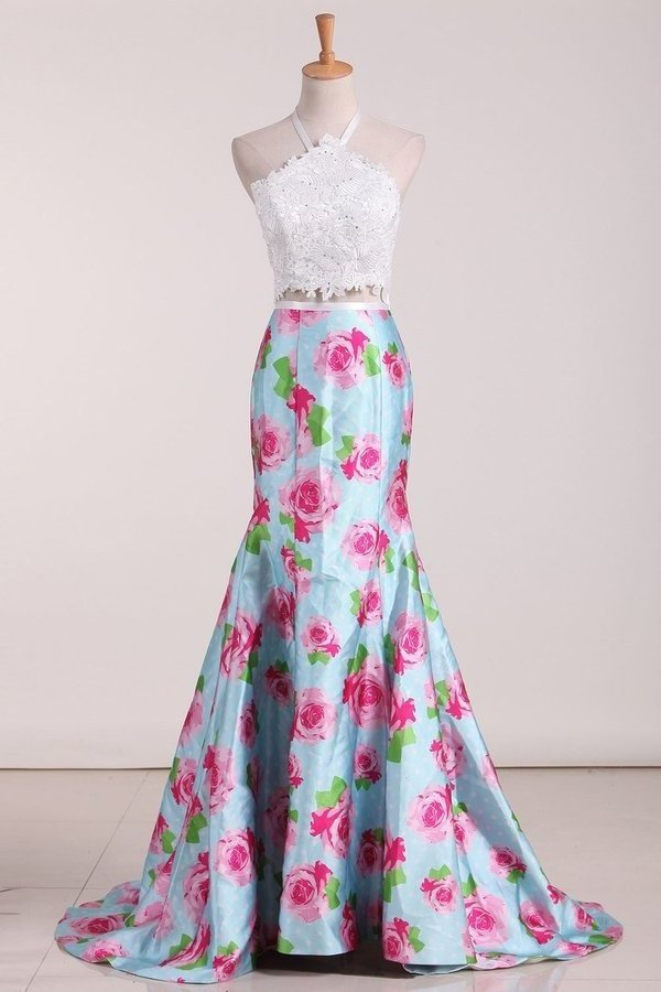 Two Pieces Halter Mermaid Floral Prom Dresses PKXH9FMZ