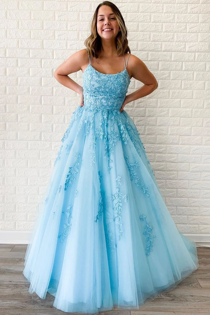 Unique A-Line Sky Blue Tulle Appliques Beads Scoop Prom Dresses with Lace STI15681