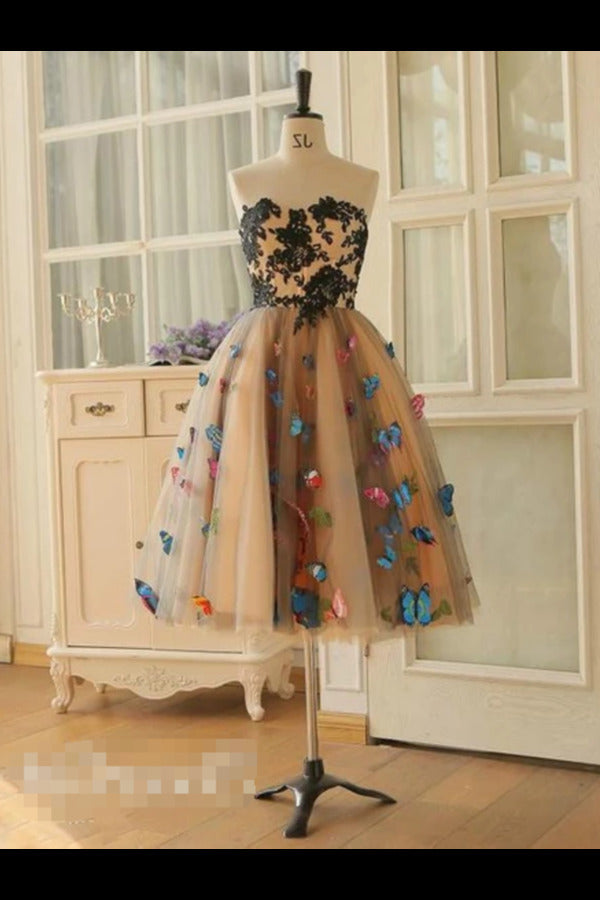 SweetHeart Neckline A Line Homecoming Dresses Colorful Butterflies Appliques Short PSDTKG5C