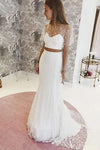 Elegant Two Pieces Lace Mermaid Short Sleeves Tulle Wedding Dresses STI15581