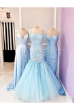 Spaghetti Straps Appliques Mermaid Prom Dress Ruffle Skirt Formal STIPEY5G4CG