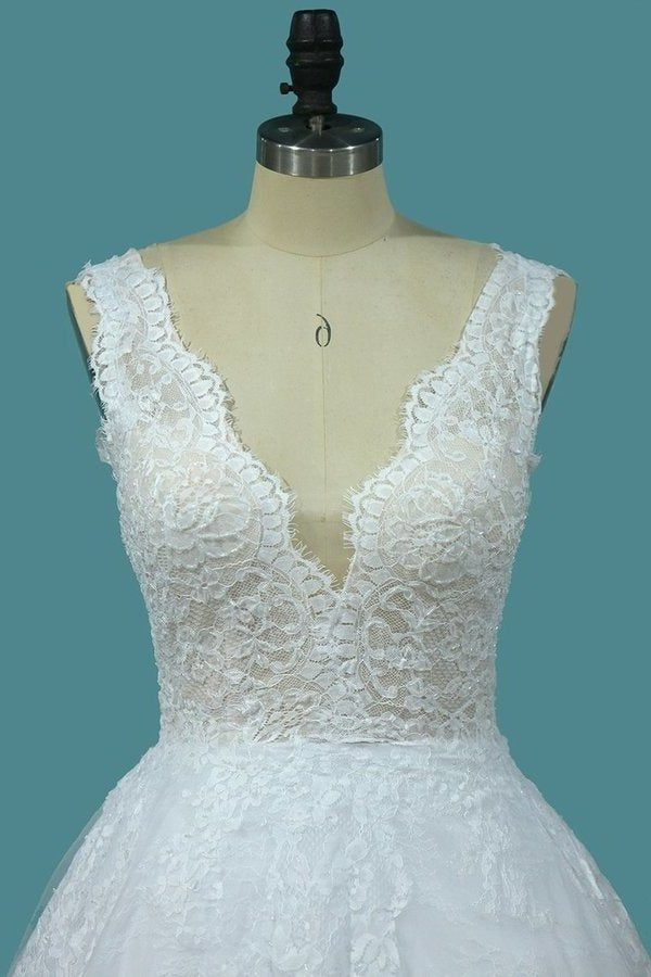A Line Lace V Neck Wedding Dresses With Applique Open Back P81HSPMH