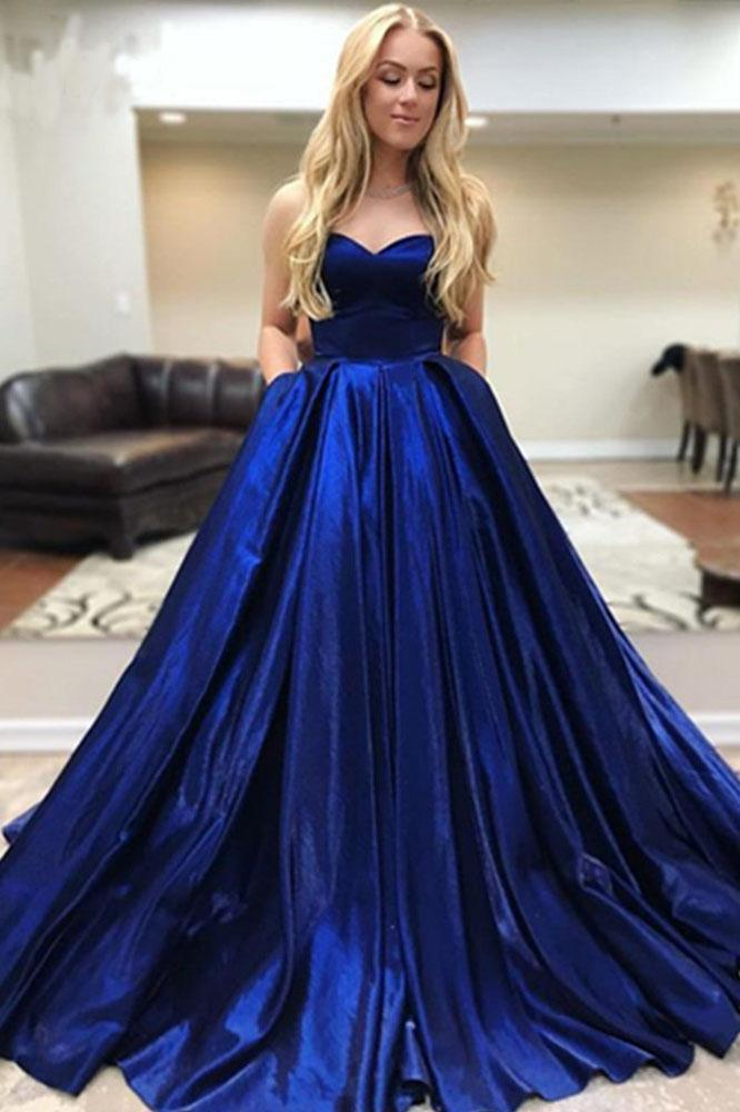 A Line Royal Blue Satin Sweetheart Strapless Prom Dresses with Pockets, Evening Dress STI15553