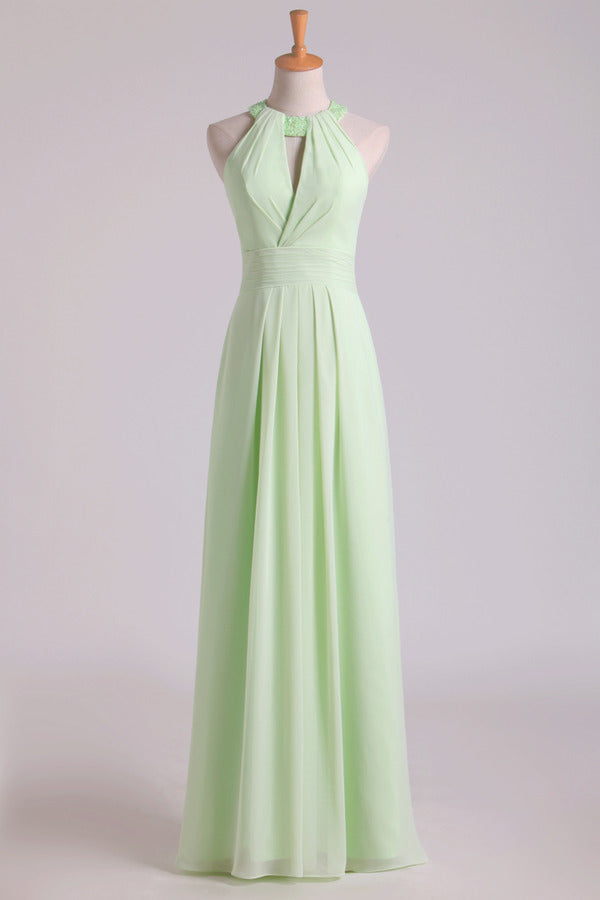 Sexy Scoop A Line Bridesmaid Dresses Chiffon With PKBDBD3H