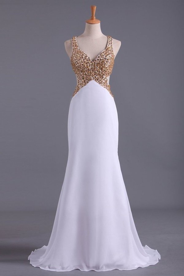 Straps Prom Dresses Open Back Sheath/Column With Golden P9M9J38K