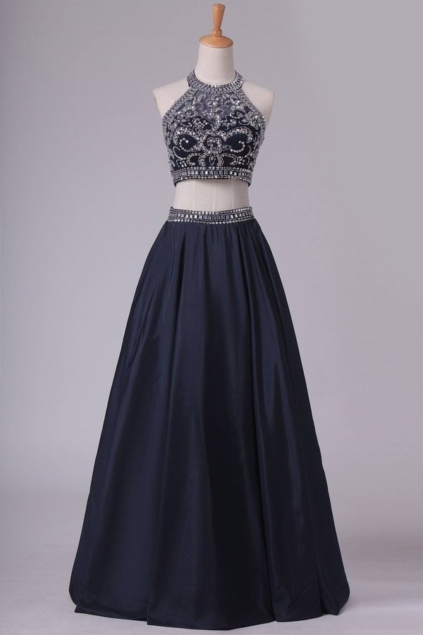 Two-Piece Halter Beaded Bodice A Line Prom Dresses Taffeta PLP96E87