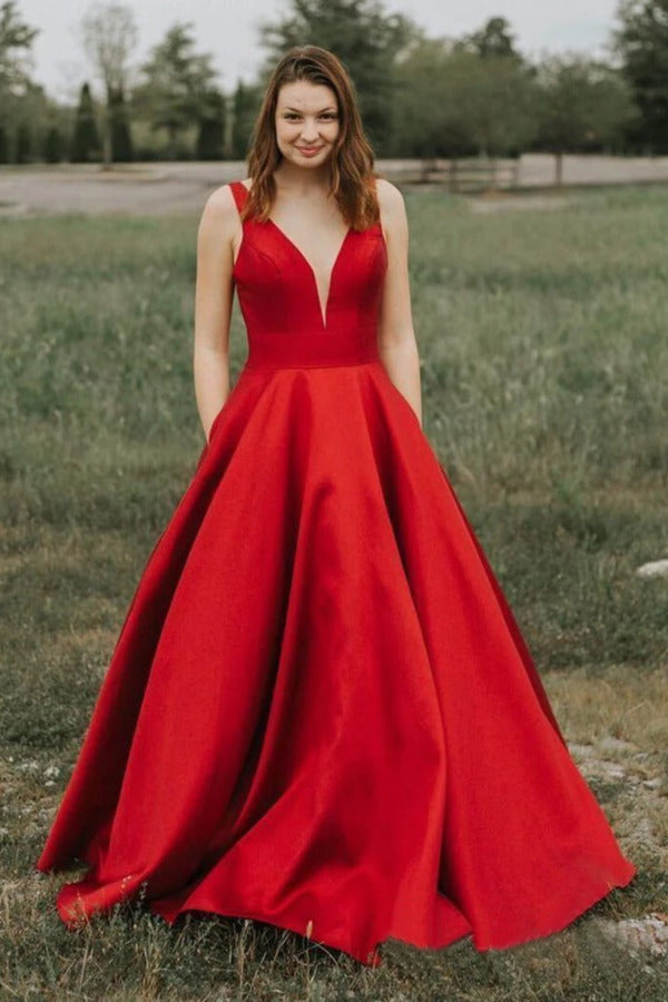 Simple A-Line V-Neck Satin Long Cheap Red Prom Dresses PAFE1R5Z