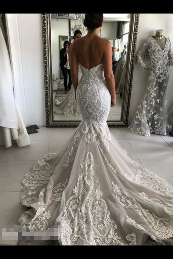 Wedding Dress With Drop Waist And Gorgeous Appliques Mermaid With Court Train PSPHNGSY