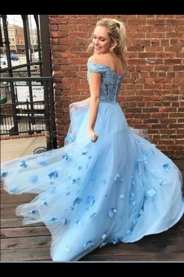 Two Piece Floor Length Tulle Prom Dress With Lace Long Off The Shoulder Dress PNNZQK87