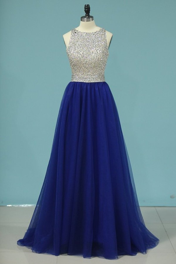 A Line Scoop Beaded Bodice Prom Dresses Open Back Tulle P6C9L56D