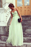 Hot Selling Prom Dresses A Line Floor Length Sweetheart Chiffon Belt Color Sage Discount Price PX2FXA7C