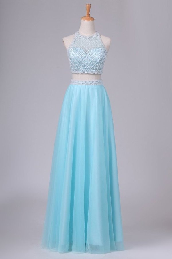 Two Pieces Scoop Prom Dresses A Line Tulle With Beads P4G3QFGQ