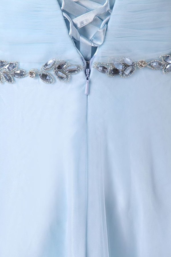 Tulle Straps Bridesmaid Dresses A Line With Ruffles And Beads P64CNTEH
