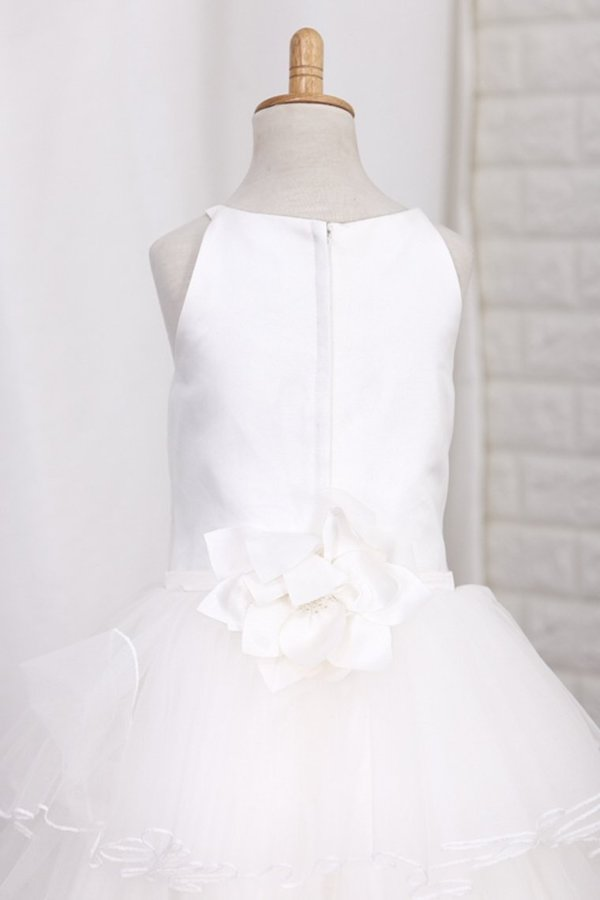 Tulle With Ruffles And Handmade Flower A Line Flower PHF61GBB