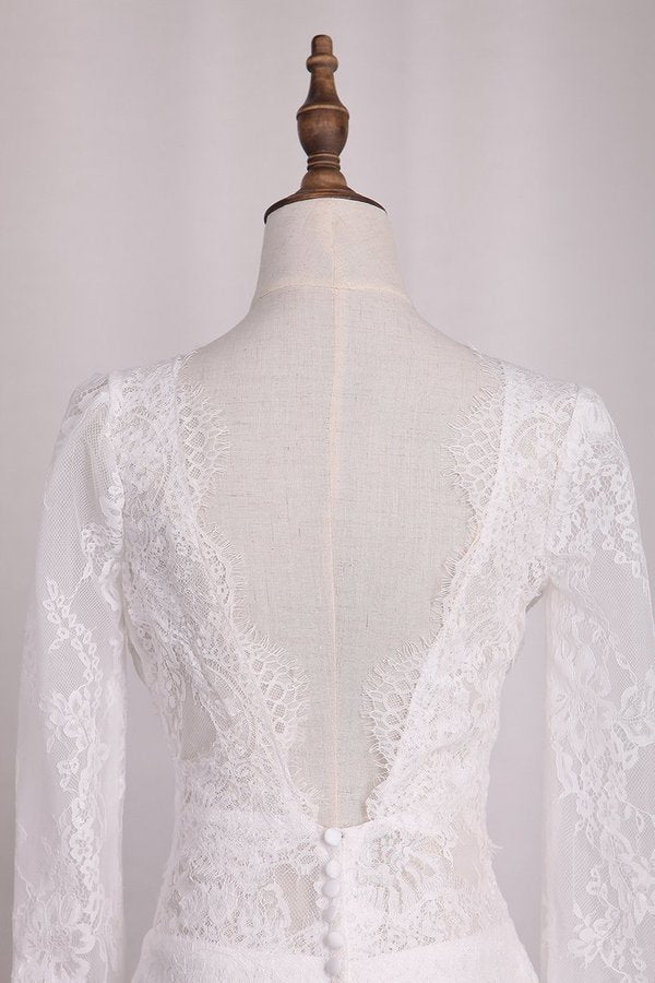 V Neck Long Sleeves Lace Mermaid Wedding Dresses Open Back PAL9XDG5