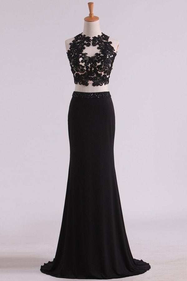 Black Two-Piece Scoop Open Back Prom Dresses Sheath PEDGBRQA