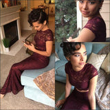 Sexy Two Pieces Burgundy Lace Mermaid Long Short Sleeves Floor Length Prom Dresses