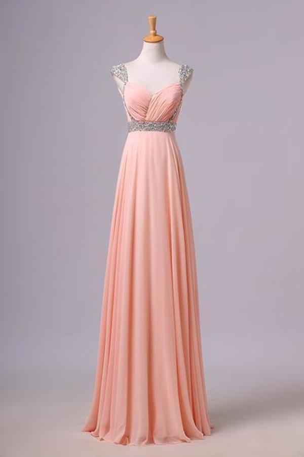 Simple Prom Dresses With Cap Sleeves A-Line V-Neck Floor-Length Chiffon PFPPGQFD