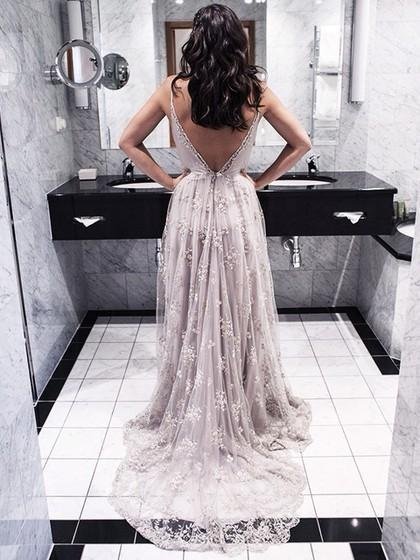 Lace Backless Long Light Purple Spaghetti Straps V-Neck A-Line Sleeveless Prom Dresses